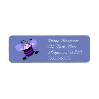 Purple and Lavender Cartoon Cute Busy Bee Return Return Address Label