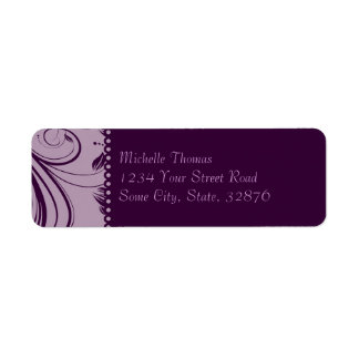 Purple and Lavender Floral Swirls Wedding Address Return Address Label