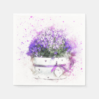 Purple and lavender flowers in pink and white pot paper napkin