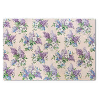 Purple and Lavender Lilacs on Vintage Wallpaper Tissue Paper