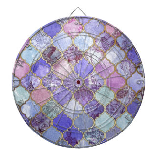 Purple and Light Blue Moroccan Tile Pattern Dartboard