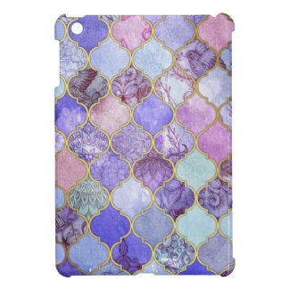 Purple and Light Blue Moroccan Tile Pattern iPad Mini Cases