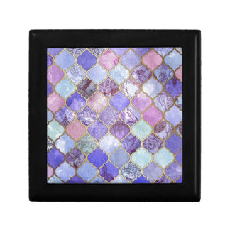 Purple and Light Blue Moroccan Tile Pattern Jewelry Boxes