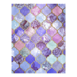 Purple and Light Blue Moroccan Tile Pattern Letterhead