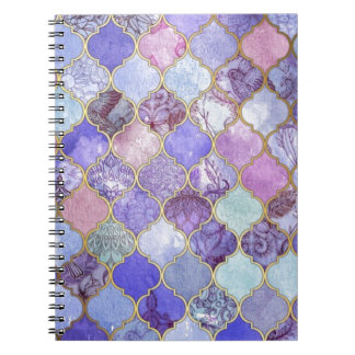 Purple and Light Blue Moroccan Tile Pattern Notebooks