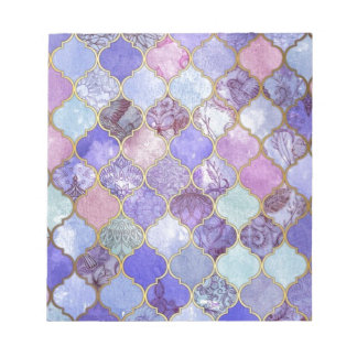 Purple and Light Blue Moroccan Tile Pattern Notepad