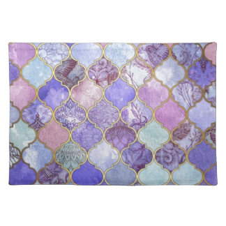 Purple and Light Blue Moroccan Tile Pattern Placemat