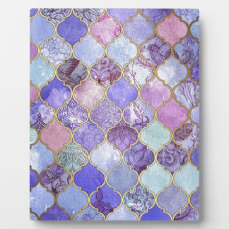 Purple and Light Blue Moroccan Tile Pattern Plaque