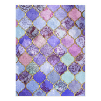 Purple and Light Blue Moroccan Tile Pattern Postcard