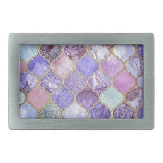 Purple and Light Blue Moroccan Tile Pattern Rectangular Belt Buckles