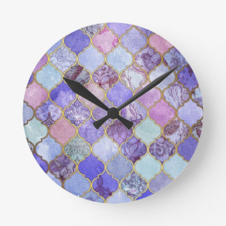 Purple and Light Blue Moroccan Tile Pattern Round Clock