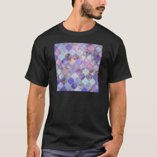Purple and Light Blue Moroccan Tile Pattern T-Shirt