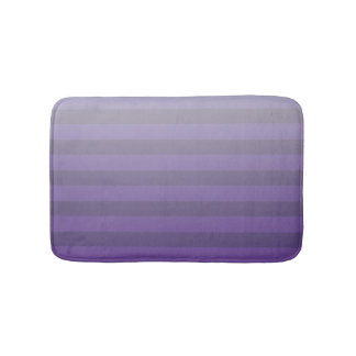 Purple and Light Gray Striped Gradient Bath Mat