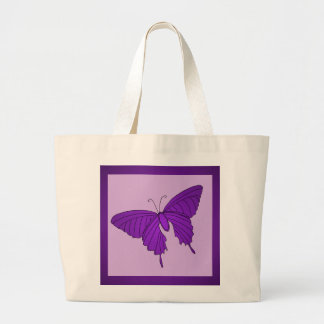 Purple and Lilac Butterfly Lavender Violet Large Tote Bag