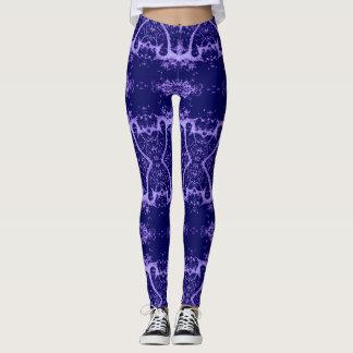 Purple and Lilac Designer Leggings, Tree, Yoga Leggings