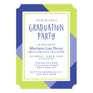 Purple and Lime Colour Block Graduation Party Card