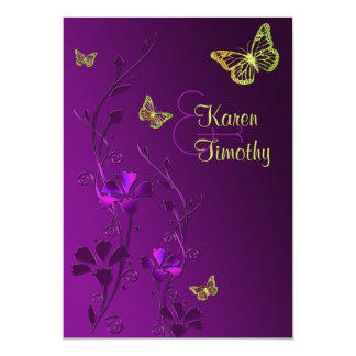 "Purple and Lime Floral with Butterflies 5"" X 7"" Invitation Card"