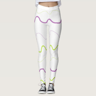 Purple and Lime Green Squiggle Abstract Leggings