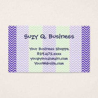 Purple and Lime Green Striped Chevron Zig Zags Business Card