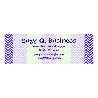 Purple and Lime Green Striped Chevron Zig Zags Mini Business Card