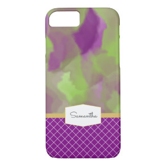 Purple and Lime Green Watercolor iPhone 8/7 Case