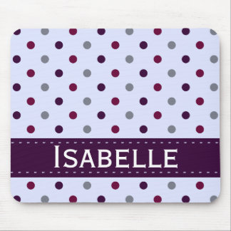 Purple and Magenta Polka Dot Mouse Pad