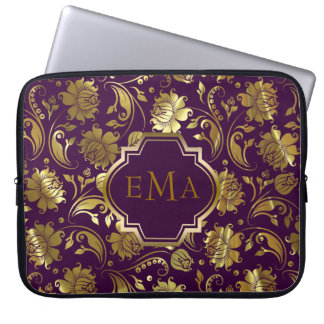 Purple And Metallic Gold Floral Pattern Laptop Sleeve