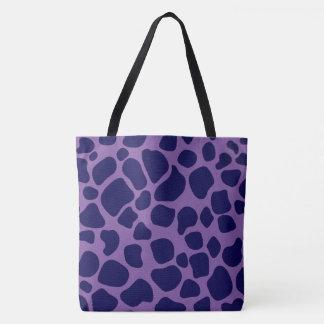 Purple and Midnight Blue Giraffe Tote Bag