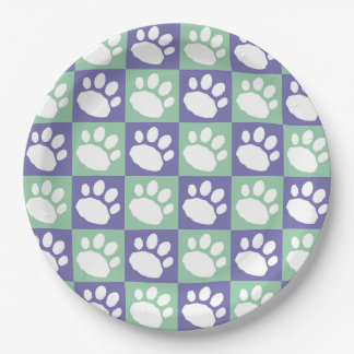 Purple and Mint Green Checkerboard Paw Print Paper Plate