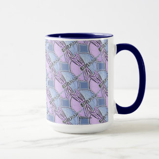 Purple and Navy Dragonfly Symbol Mug