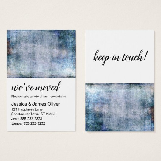 Purple and Navy Grunge We've Moved Handout Card