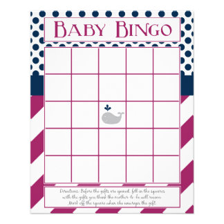 Purple and Navy Whale Baby Shower Bingo Flyer