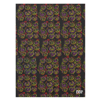 Purple and orange and green pumpkin art tablecloth
