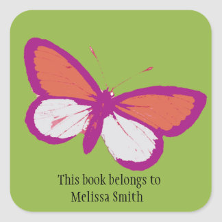 Purple and Orange Butterfly on Green Book Label