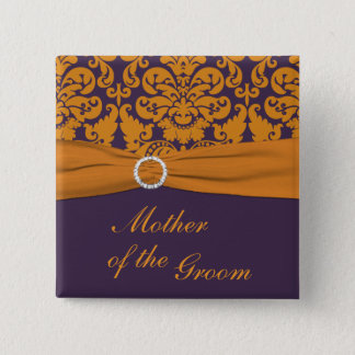 Purple and Orange Damask Mother of the Groom Pin