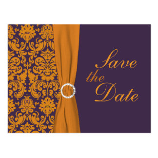 Purple and Orange Damask Save the Date Card
