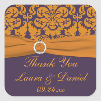 Purple and Orange Damask Wedding Favor Sticker