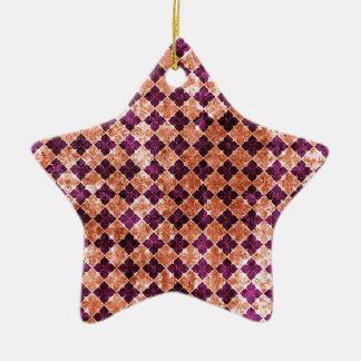 Purple and Orange Funky Pattern Ceramic Star Ornament