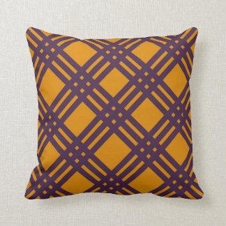 Purple and Orange Lattice Throw Pillow