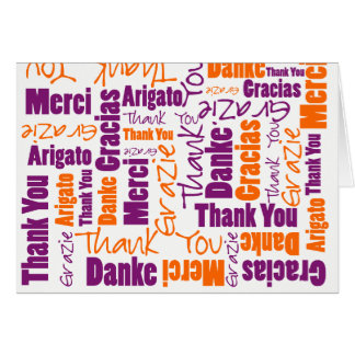 Purple and Orange Multilingual Thank You Card