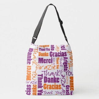 Purple and Orange Multilingual Thank You Crossbody Bag