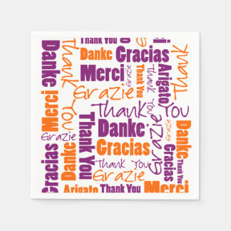 Purple and Orange Multilingual Thank You Disposable Napkin