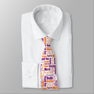Purple and Orange Multilingual Thank You Tie