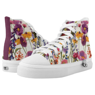 Purple and Orange Poppy Melody High Tops