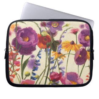 Purple and Orange Poppy Melody Laptop Sleeve