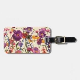 Purple and Orange Poppy Melody Luggage Tag