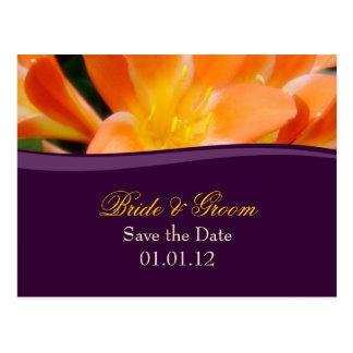 Purple and Orange Save the Date Postcard