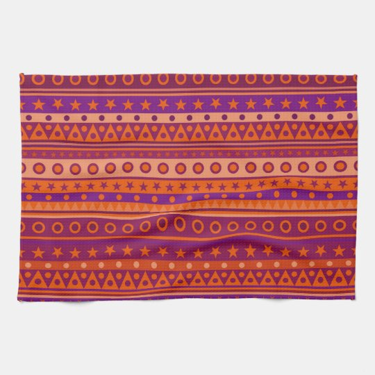 Purple and Orange Stripy Stars and Spots Pattern Kitchen Towel