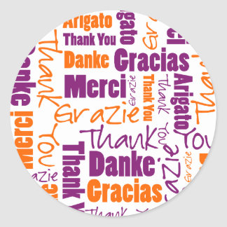 Purple and Orange Thank You Word Cloud Classic Round Sticker