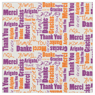 Purple and Orange Thank You Word Cloud Fabric